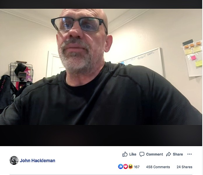 PROTECTION OR OVERKILL? In a video posted to Facebook on June 8, owner of The Pit John Hackleman explains his decision to brandish firearms during a Black Lives Matter rally in Arroyo Grande on June 5. - SCREENSHOT FROM THE PIT'S FACEBOOK PAGE