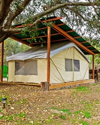 GLAMPING HEAVEN Branch Mill Organic Farms outside Arroyo Grande offers two tarp tent campsites, complete with beds, bathrooms, showers, and an outdoor kitchen.