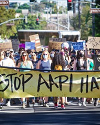 """COMMUNITY Stop the AAPI (Asian American Pacific Isander) Hate rally attendees chanted, """"this is what community looks like"""" as they marched through SLO city's downtown area."""