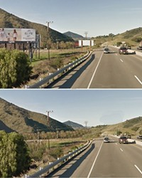 WITH AND WITHOUT:  Pictured is Highway 101 north of San Luis Obispo as it stands today, and what it could look like without billboards.