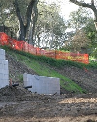 BULLDOZER MADNESS:  Neighbors at the top of this Atascadero hill were never notified that the wooded gentle slope near their homes would be converted into a steep, erosion-prone drop-off.