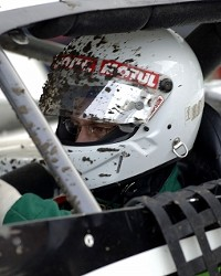 MUD IN YER EYE:  Santa Maria Speedways dirt track does not just take special skills to drive in. Many drivers also cover their visors in peel-off plastic strips in case the mud gets too bad.