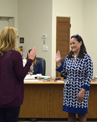 NEW FACES Lan George takes the oath of office after being appointed to fill a vacant seat on the Arroyo Grande City Council on Jan. 8. The day before, the Grover Beach City Council voted to appoint Desi Lance to its own vacant seat.