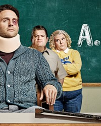 FLUNKED In A.P. Bio, Glenn Howerton (center) plays a disgraced Harvard professor who loses his job and becomes a teacher at a high school in Toledo, Ohio.