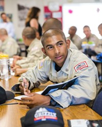 ALWAYS LEARNING Academics aside, Grizzly cadets like Noah Landeros are constantly learned ways to cope, how to plan for their future, and how to work with others.