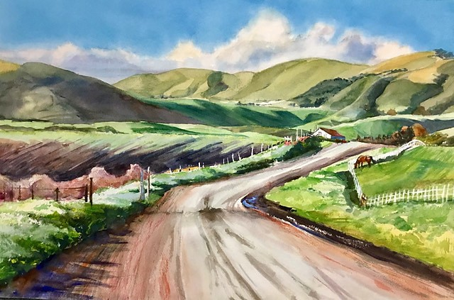 TEMATATE RIDGE FOOTHILLS This 15-by-22-inch watercolor depicts an area southeast of Arroyo Grande, one of Rosanne Seitz's many plein air paintings created on location during the pandemic.