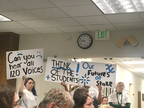 THE IMPACTS Paso Robles community members, students, and teachers attended a board meeting on March 10 to protest millions of dollars' worth of cuts to faculty, staff, and classes in the Paso Robles Joint Unified School District. - FILE PHOTO BY KASEY BUBNASH