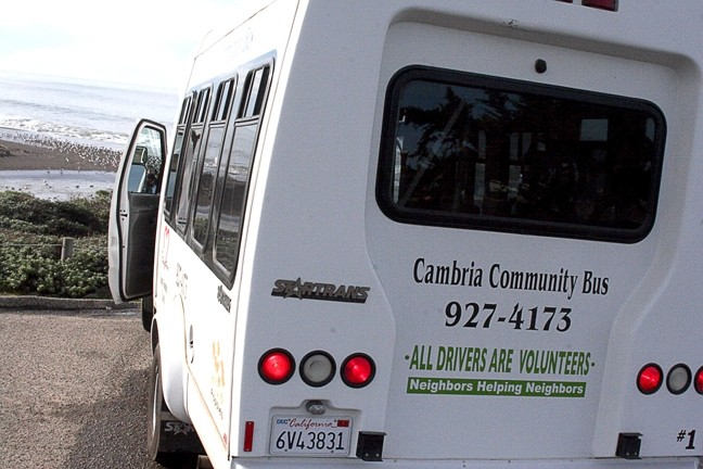 ALL ABOARD! :  The Cambria Community Bus provides a service unique to SLO County, offering free rides to seniors and the disabled. It's supported solely through volunteer drivers and administrators. - PHOTO BY MATT FOUNTAIN