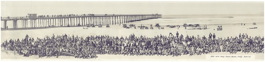 NOW AND THEN :  Hundreds of bikers gathered to recreate an uncredited panoramic photograph of a 1929 Western Federation of Motorcyclists Rally on Pismo Beach. - PHOTOIMAGES COURTESY OF PISMO BEACH MOTORCYCLE CLASSIC