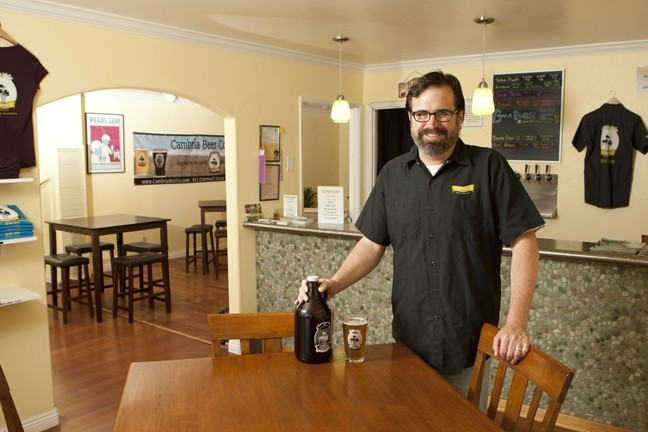 NEW KIDS ON THE BLOCK :  Aaron Wharton started Cambria Beer Co. last spring; it was one of five SLO County breweries to open over the past year. - PHOTOS BY STEVE E. MILLER
