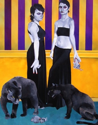 EAT THEIR HEARTS OUT :  At her Studios on the Park solo show, local artist Lena Rushing takes an unnerving look at women and their environments, often placing them in the company of wild animals. - ALL ARTWORK BY LENA RUSHING