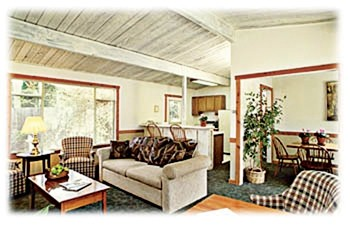 LIVIN' IT UP :  Atascadero City Manager Wade McKinney and Assistant City Manager Jim Lewis shared a cottage at Carmel Valley Lodge during a strategic planning retreat. Eight other city employees had their own rooms. - PHOTO COURTESY OF CARMEL VALLEY LODGE