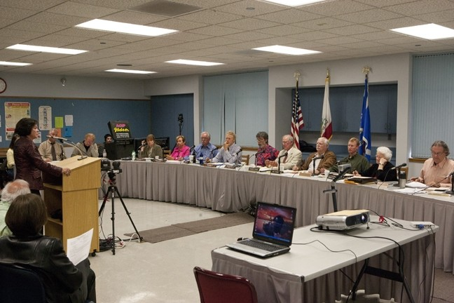 BUREAUCRAT BRADY BUNCH :  The Morro Bay City Council and Cayucos Sanitary District Board of Directors comprise the Joint Powers Authority tasked with making decisions regarding the wastewater treatment plant upgrade. - PHOTO BY STEVE E. MILLER