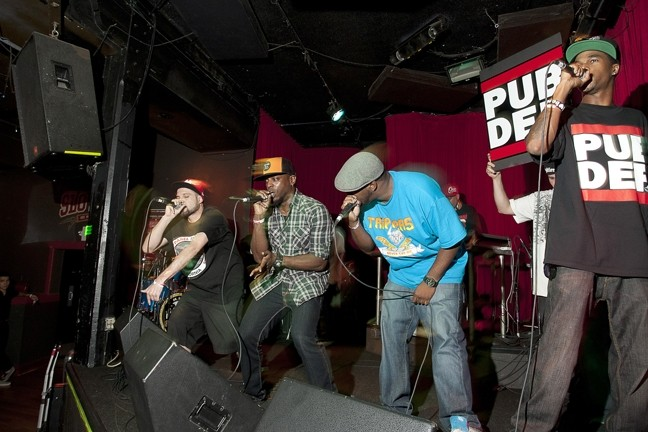THE KINGS OF THE NEWTIES :  The guys from Public Defendaz, who won first place in the hip-hop and rap category as well as the Readers' Choice and Best Live Performance award, were the evening's big winners. - PHOTO BY STEVE E. MILLER
