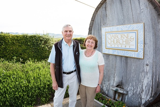 "NUTTY PROFESSORS:  In the early '80s, Claiborne ""Clay"" Thompson and his wife Fredericka Churchill ditched their careers as University of Michigan professors and planted winemaking dreams in Edna Valley's fertile soil. - PHOTO BY KAORI FUNAHASHI"