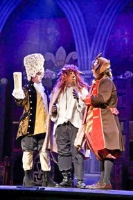 THE ART OF LOVE:  Lumière (Erik Austin) and Cogsworth (Lester Wilson) coach the Beast (Dylan F. Thomas) in how to woo a lady. - PHOTOS COURTESY OF KELRIK PRODUCTIONS