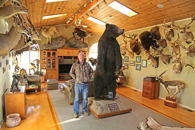 TROPHY ROOM:  After a long day of taxidermy work, Don likes to relax in his living room with his wife and all his trophy mounts and watch television. - PHOTO BY DYLAN HONEA-BAUMANN