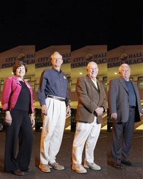 PISMO BEACH :  Two candidates are running for mayor, and three candidates are running for two city council seats. From left to right: Mary Anne Reiss, Ed Waage, Ted Ehring, and Bill Rabenaldt. Wayne King is not pictured. - PHOTO BY STEVE E MILLER