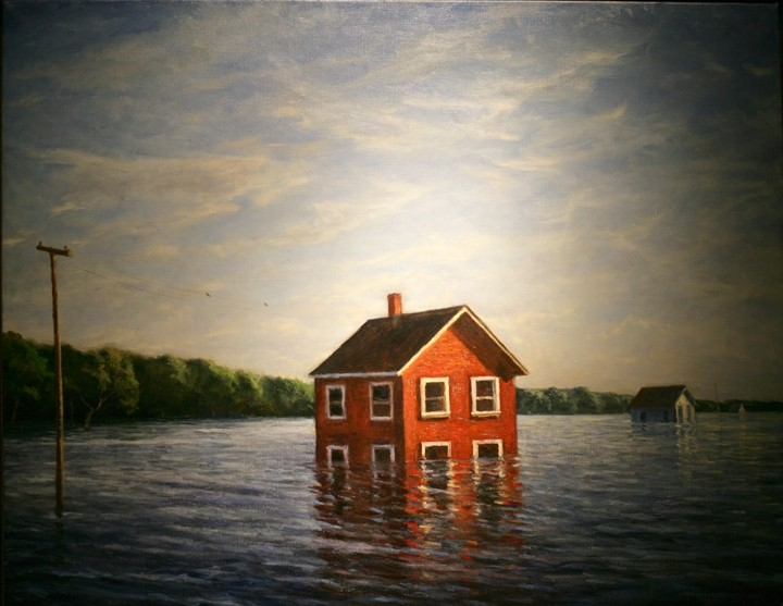 SYMBOLISM :  In Common Problems, artist Mark Beck could be referring to underwater mortgages, but more likely this painting is symbolic of Americans' shared interconnectivity—what befalls the least of us should concern all of us. - PHOTO BY GLEN STARKEY