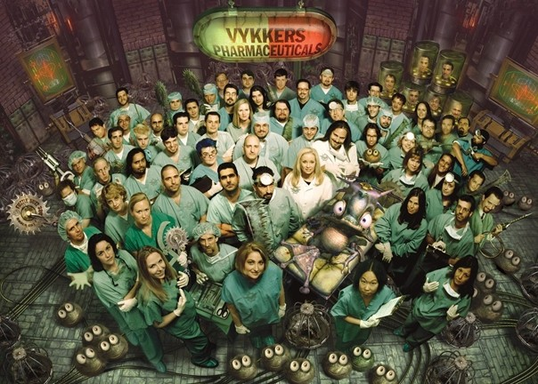 THE INHABITANTS :  When it closed, Oddworld Inhabitants employed about 70 people. This photo was used as a promotion for the team's third game, Munch's Oddysee, released in 2001. - PHOTO COURTESY OF ROB BROWN