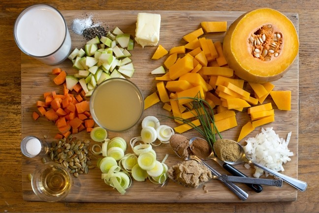 INGREDIENT SPREAD:  Staff Photographer Steve E. Miller took it upon himself to try out the recipe for the butternut squash soup in this week's cuisine column and an assortment of the ingredients is pictured here. Steve notes that because of the differences in ovens, you might need to modify the timing of the parts of the recipe to suit your own appliance. Overall, the soup came out deliciously! - PHOTO BY STEVE E. MILLER