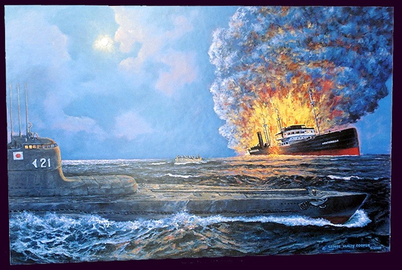 """Japanese sub sinks Union Oil tanker Montebello,"" by George Healey Cooper, a Los Osos painter. - IMAGE COURTESY OF GEORGE HEALEY COOPER"
