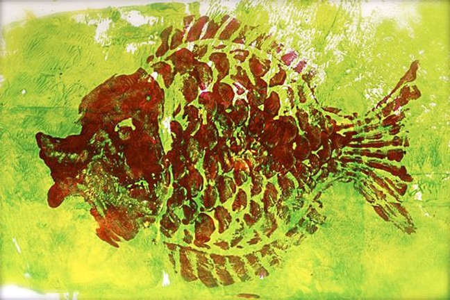FISHY! :  Morgan Howlan, age 5, created Red Fish, Green Fish. - IMAGES COURTESY OF SALON 544