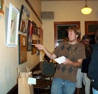 """WOWZA :  """"Mincing Words"""" is chock-full of so much awesome art that I was shocked into a silly stupor of dumb poses. Luckily it's on display at Linnaea's Café through September, so y'all can see it, too. - PHOTO BY LENA RUSHING"""