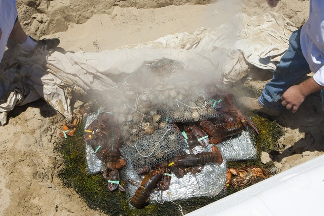 UNCOVERED :  As a preview for the main event in September, the Sea Venture restaurant held a clambake for the media lunch. Here, the canvas has just come off of the food. - PHOTOS BY STEVE E. MILLER