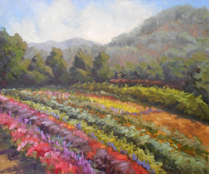 SUMMER OPULENCE :  Pacific Grove-based fine artist Christine Crozier, whose work is pictured, is one of many painters to participate in a Plein Air Quick-Draw and outdoor fine art sale during the Festival of the Arts' main event on Saturday, May 25. - ARTWORK BY CHRISTINE CROZIER