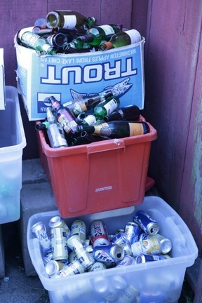 LOOKS LIKE ABOUT 20 BUCKS :  The recycling was piled high after the party. - PHOTO BY GLEN STARKEY