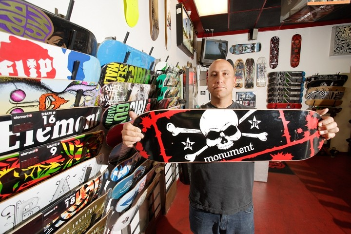 A GOOD RUN :  With the closure of Monument Board Shop, in Arroyo Grande, set for mid-September, co-owner Bud Aquino reminisces about the local skateboarding scene. - PHOTO BY STEVE E. MILLER