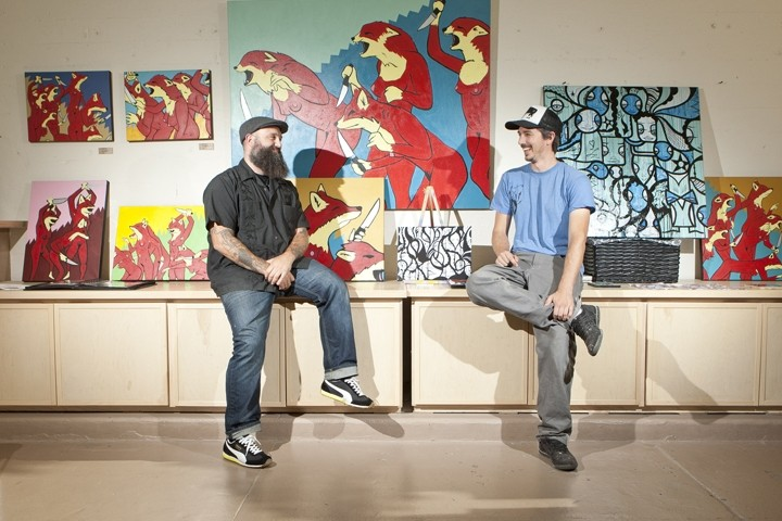 THE BEST OF FRIENDS:  Artists Neal Breton (bearded, left) and Jeff Claassen have teamed up to open Fiasco Gallery, a new art space at Paso Robles' Studios on the Park. - PHOTO BY STEVE E. MILLER