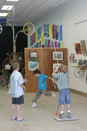 KIDS AT PLAY :  There are several interactive contraptions for kids to play with, making this a very hands-on art gallery. - PHOTO BY GLEN STARKEY