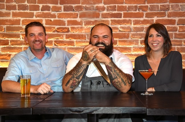 CHICKEN OR THE EGG:  The Hatch co-owners Eric Connoly and Maggie Cameron pose for a photo with executive chef Mateo Rogers (middle) at their new Paso Robles restaurant. - PHOTO BY HAYLEY THOMAS
