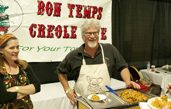 SOUTHERN STYLE:  Bon Temps Creole Café owner Phil Lang (right) served up some of his amazing bacon-laced jambalaya! - PHOTO BY STEVE E. MILLER