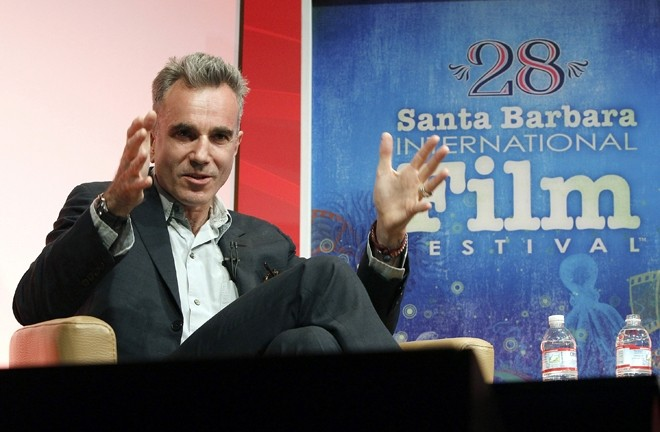 DANIEL THE INIMITABLE :  Masterful actor Daniel Day-Lewis seemed to choose his words like he does his films: slowly and deliberately, with no hurrying in between. The Lincoln star looked sharp in a suit and striped neon socks when he appeared at the festival to receive the Montecito Award. Asked why he does so many period pieces, Day-Lewis said it probably has something to do with his nose, which was broken while shooting The Boxer, resulting in a kind of period actor look. That's seriously what he said. - PHOTO COURTESY OF SBIFF