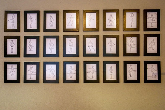 PRACTICE MAKES PERFECT:  A series of drawings demonstrating the proper technique for classical ballet movements adorns the walls at the San Luis Obispo Movement Arts Center. - PHOTO BY DYLAN HONEA-BAUMANN