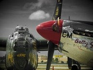 WITCHCRAFT AND BETTY JANE! :  You can tour a World War II vintage Boeing B-17 (not pictured), a Consolidated B-24 Liberator, and a North American P-51 Mustang at the SLO County Regional Airport May 16 through 18. - PHOTOS COURTESY OF THE COLLINGS FOUNDATION
