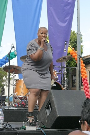 SING IT, SISTER! :  Soul sister, American Idol diva, Broadway star, and Grammy nominee Frenchie Davis wowed the crowd with a blistering set of tunes that had the crowd jumping. - PHOTO BY GLEN STARKEY