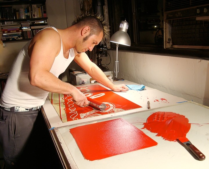 THE MASOCHIST AT WORK :  The process of creating linoleum block prints is intense, as is the art itself. - IMAGE COURTESY OF DAVE LEFNER