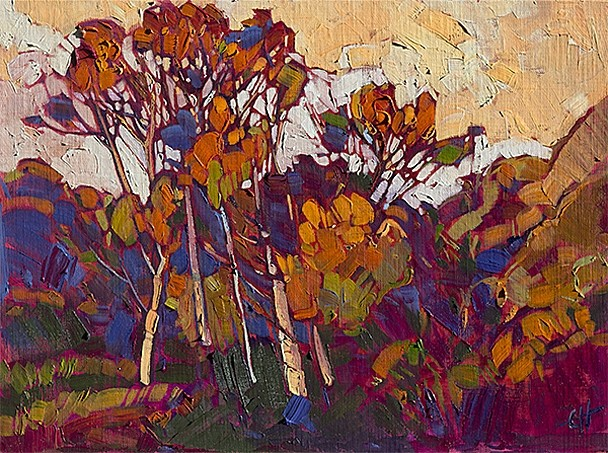 TREELINE:  Although Erin Hanson prefers to be in Paso Robles, she sometimes trades oaks for eucalyptus. In this painting, the slender trees take on a warm, sun-drenched quality. - PHOTO COURTESY OF ERIN HANSON