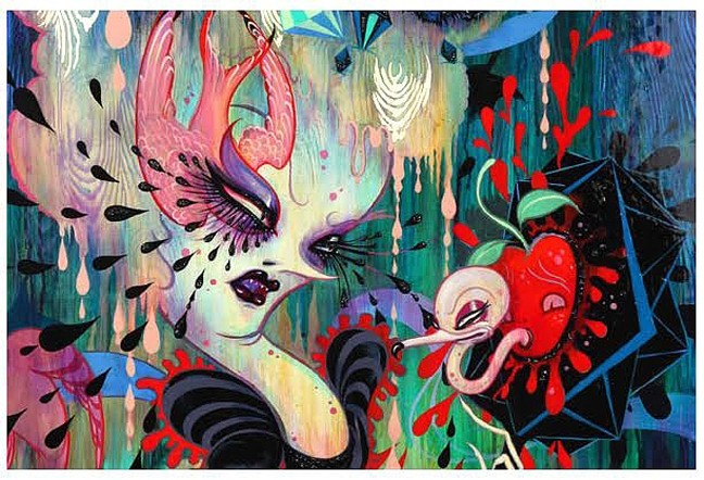 SNOW WHITE AND THE BLACK LAGOON:  Camille Rose Garcia's show will transform the white walls of the Cuesta gallery into a colorful, somewhat freaky menagerie of characters from Feb. 29 to March 25, 2016. - IMAGE COURTESY OF CUESTA COLLEGE