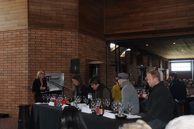 PASO'S RHONE RANGERS RIDE AGAIN :  Sunset Wine Editor Sara Schneider moderated the winemakers' forum during the 2012 Rhone Essentials Seminar in Paso Robles. - PHOTO BY DAN HARDESTY