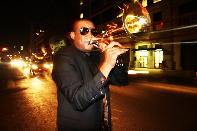 BADASS! :  Gruff, talented trombonist Glen David Andrews headlines June 20 at the Live Oak Music Festival. - PHOTO COURTESY OF GLEN DAVID ANDREWS