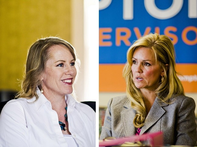 MONEY, MONEY, MONEY:  To the tune of more than $675,000 in combined total cash, nonmonetary donations, and loans since the campaign's outset, Caren Ray (left) and Lynn Compton (right) have battled fiercely (and expensively) for the District 4 seat on the SLO County Board of Supervisors. - FILE PHOTOS BY HENRY BRUINGTON