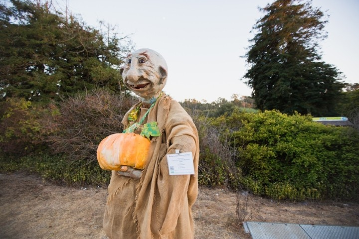 OGRETOBER:  Curtis, 'The Pumpkin Poaching Ogre,' created by Beverly Whitaker, welcomes visitors into town with a prime spot on Main Street. - PHOTO BY KAORI FUNAHASHI