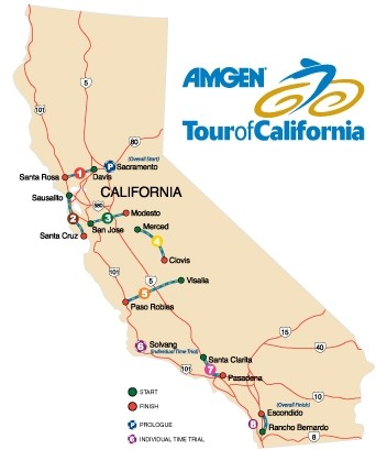 "STAGE SAMPLER:  The ""Tour of California"" is actually a collection of disconnected stages dotting the state from Santa Rosa to San Diego. - GRAPHIC COURTESY OF THE AMGEN TOUR OF CALIFORNIA"