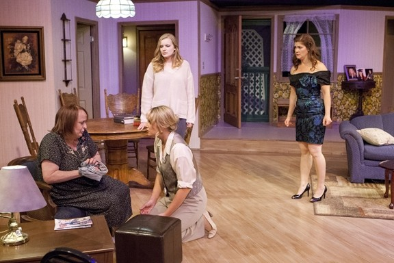 LIKE MOTHER …:  Jill Turnbow (seated, left) is Evelyn Briggs, the unstable mother of Kess (Makayla Dubois; kneeling), Sherry (Clara Jane Fulks; center), and Jo (Alicia Klein; far right) in Lee Blessing's 1985 drama 'Independence.' - ' - PHOTO BY STEVE E. MILLER