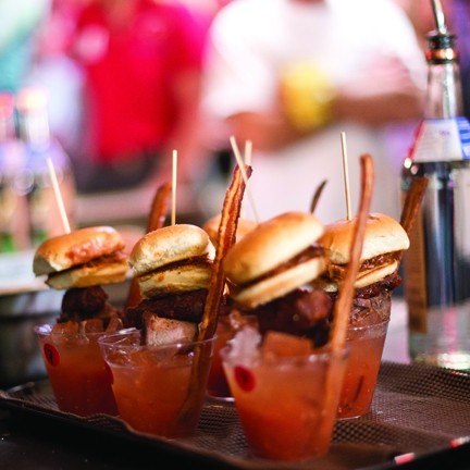 MEATGASM! :  Alex's Bar-B-Q won first place for Best Bloody with this concoction topped with barbecued meats and a pulled pork slider.